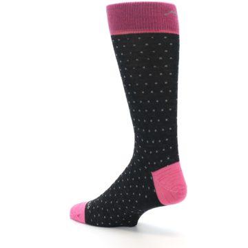 Image of Charcoal Pink Polka Dot Wool Men's Socks (side-2-back-14)