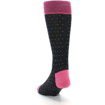 Image of Charcoal Pink Polka Dot Wool Men's Socks (side-2-back-16)