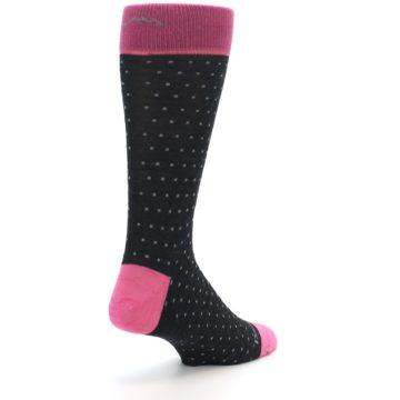 Image of Charcoal Pink Polka Dot Wool Men's Socks (side-1-back-21)