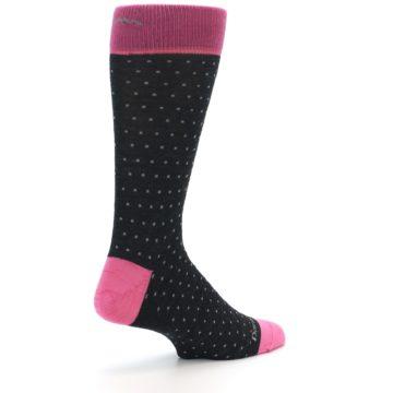 Image of Charcoal Pink Polka Dot Wool Men's Socks (side-1-back-22)