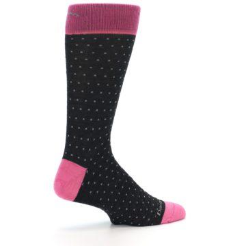Image of Charcoal Pink Polka Dot Wool Men's Socks (side-1-23)