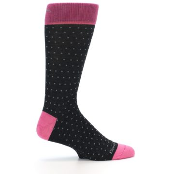 Image of Charcoal Pink Polka Dot Wool Men's Socks (side-1-24)