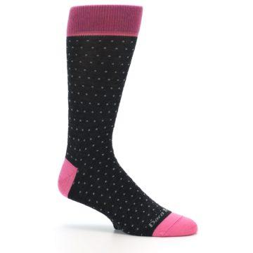 Image of Charcoal Pink Polka Dot Wool Men's Socks (side-1-25)