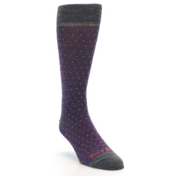 Image of Purple Orange Polka Dot Wool Men's Socks (side-1-front-02)
