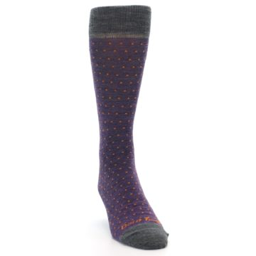 Image of Purple Orange Polka Dot Wool Men's Socks (side-1-front-03)