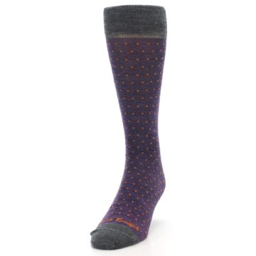 Image of Purple Orange Polka Dot Wool Men's Socks (side-2-front-06)