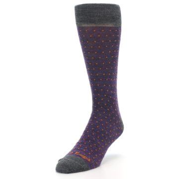 Image of Purple Orange Polka Dot Wool Men's Socks (side-2-front-07)
