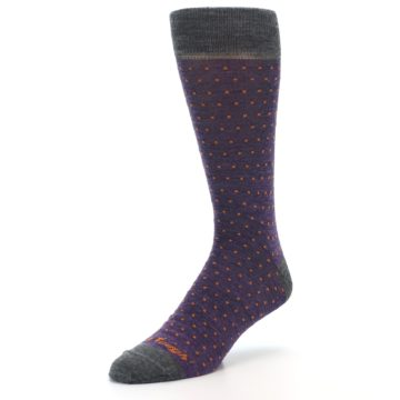 Image of Purple Orange Polka Dot Wool Men's Socks (side-2-front-08)