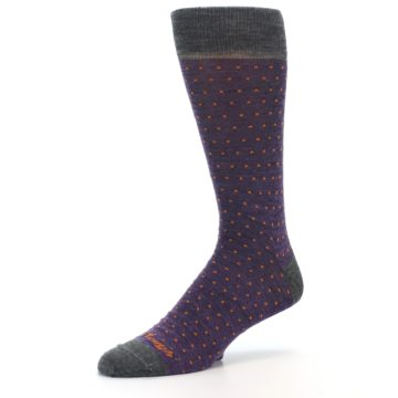 Image of Purple Orange Polka Dot Wool Men's Socks (side-2-09)
