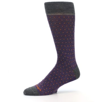 Image of Purple Orange Polka Dot Wool Men's Socks (side-2-10)