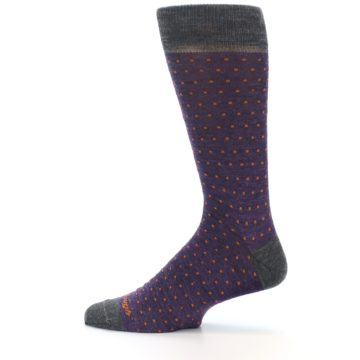 Image of Purple Orange Polka Dot Wool Men's Socks (side-2-12)