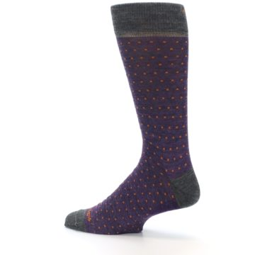 Image of Purple Orange Polka Dot Wool Men's Socks (side-2-13)