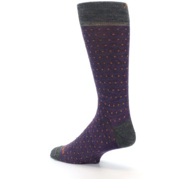 Image of Purple Orange Polka Dot Wool Men's Socks (side-2-back-14)