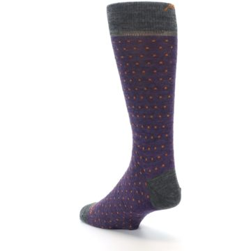 Image of Purple Orange Polka Dot Wool Men's Socks (side-2-back-15)