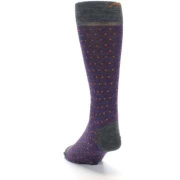 Image of Purple Orange Polka Dot Wool Men's Socks (side-2-back-16)