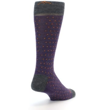 Image of Purple Orange Polka Dot Wool Men's Socks (side-1-back-21)