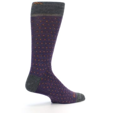 Image of Purple Orange Polka Dot Wool Men's Socks (side-1-23)