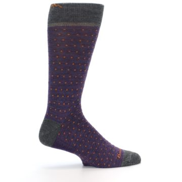 Image of Purple Orange Polka Dot Wool Men's Socks (side-1-24)