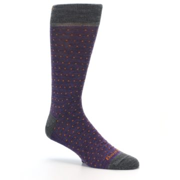 Image of Purple Orange Polka Dot Wool Men's Socks (side-1-26)