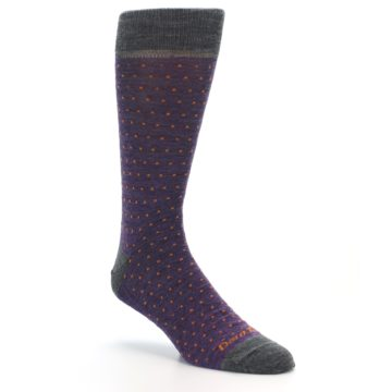 Image of Purple Orange Polka Dot Wool Men's Socks (side-1-27)