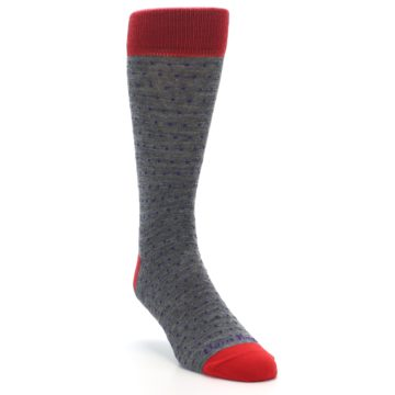 Image of Grey Purple Red Polka Dot Wool Men's Socks (side-1-front-02)