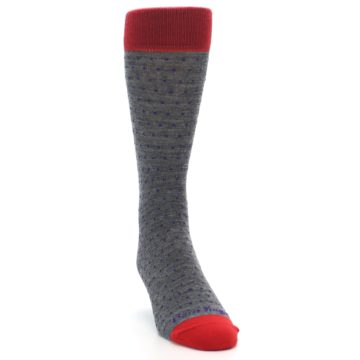 Image of Grey Purple Red Polka Dot Wool Men's Socks (side-1-front-03)