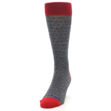 Image of Grey Purple Red Polka Dot Wool Men's Socks (side-2-front-06)