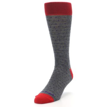 Image of Grey Purple Red Polka Dot Wool Men's Socks (side-2-front-07)