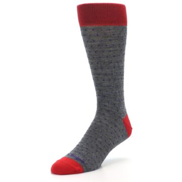 Image of Grey Purple Red Polka Dot Wool Men's Socks (side-2-front-08)