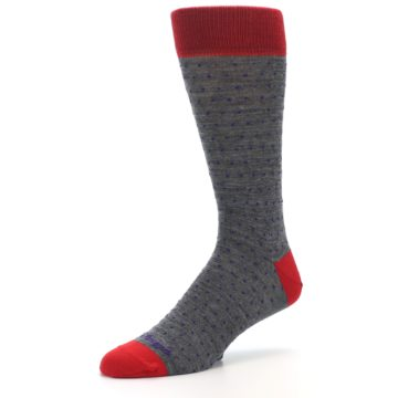 Image of Grey Purple Red Polka Dot Wool Men's Socks (side-2-09)