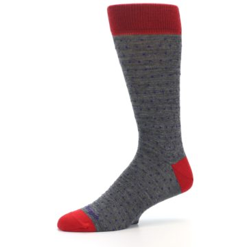 Image of Grey Purple Red Polka Dot Wool Men's Socks (side-2-10)