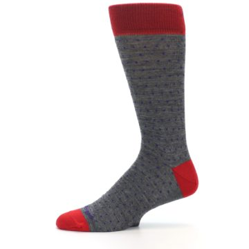 Image of Grey Purple Red Polka Dot Wool Men's Socks (side-2-11)