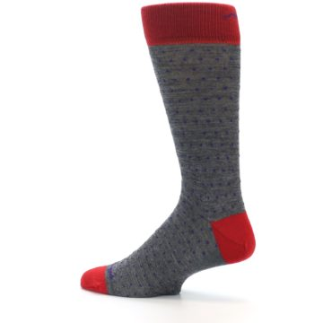 Image of Grey Purple Red Polka Dot Wool Men's Socks (side-2-13)