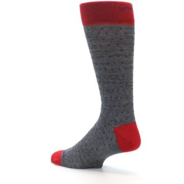 Image of Grey Purple Red Polka Dot Wool Men's Socks (side-2-back-14)