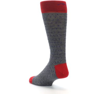 Image of Grey Purple Red Polka Dot Wool Men's Socks (side-2-back-15)