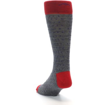 Image of Grey Purple Red Polka Dot Wool Men's Socks (side-2-back-16)