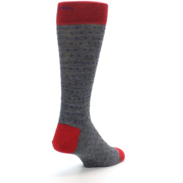Image of Grey Purple Red Polka Dot Wool Men's Socks (side-1-back-21)