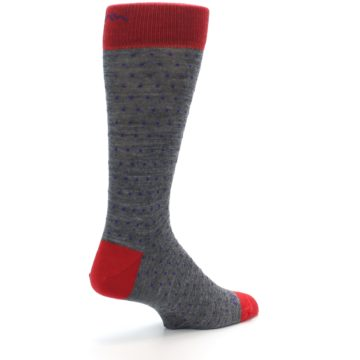 Image of Grey Purple Red Polka Dot Wool Men's Socks (side-1-back-22)