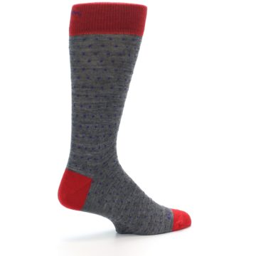Image of Grey Purple Red Polka Dot Wool Men's Socks (side-1-23)