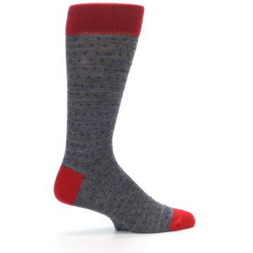 Image of Grey Purple Red Polka Dot Wool Men's Socks (side-1-24)