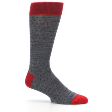 Image of Grey Purple Red Polka Dot Wool Men's Socks (side-1-25)