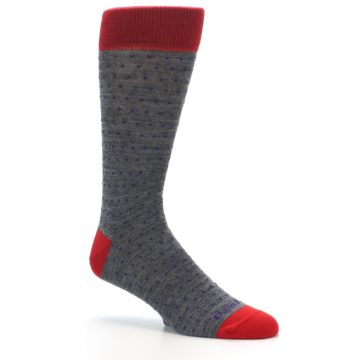 Image of Grey Purple Red Polka Dot Wool Men's Socks (side-1-26)