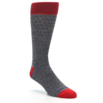 Image of Grey Purple Red Polka Dot Wool Men's Socks (side-1-27)