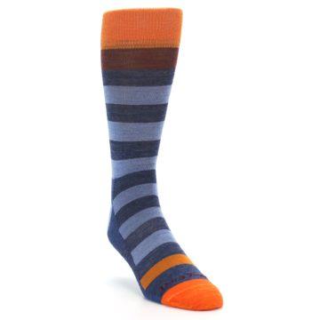 Image of Blue Rust Orange Stripe Wool Men's Socks (side-1-front-02)
