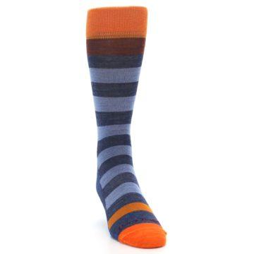 Image of Blue Rust Orange Stripe Wool Men's Socks (side-1-front-03)