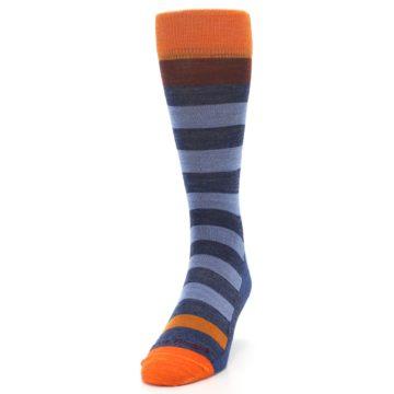 Image of Blue Rust Orange Stripe Wool Men's Socks (side-2-front-06)