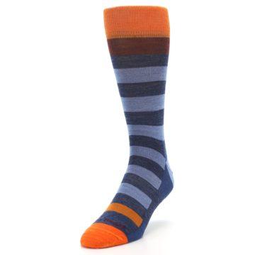 Image of Blue Rust Orange Stripe Wool Men's Socks (side-2-front-07)