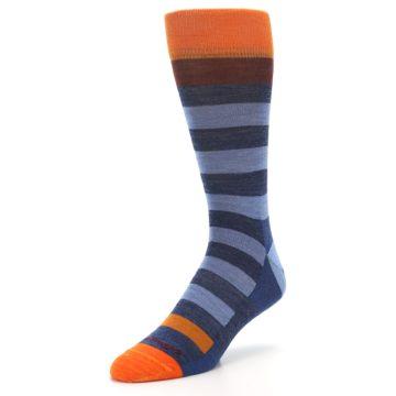 Image of Blue Rust Orange Stripe Wool Men's Socks (side-2-front-08)