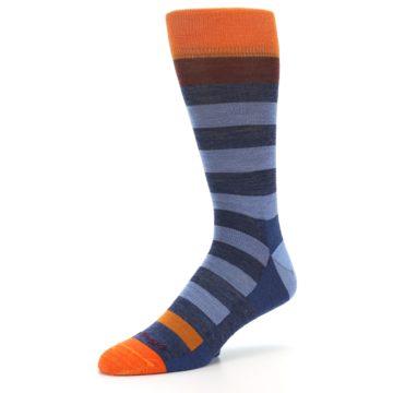 Image of Blue Rust Orange Stripe Wool Men's Socks (side-2-09)