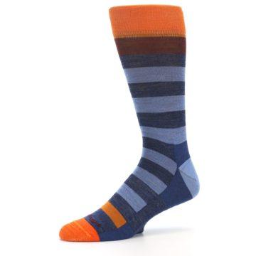 Image of Blue Rust Orange Stripe Wool Men's Socks (side-2-10)